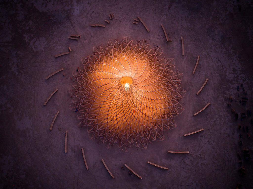 Luftaufnahme, Temple Galaxia, Burning Man, Mamou Mani Ltd.