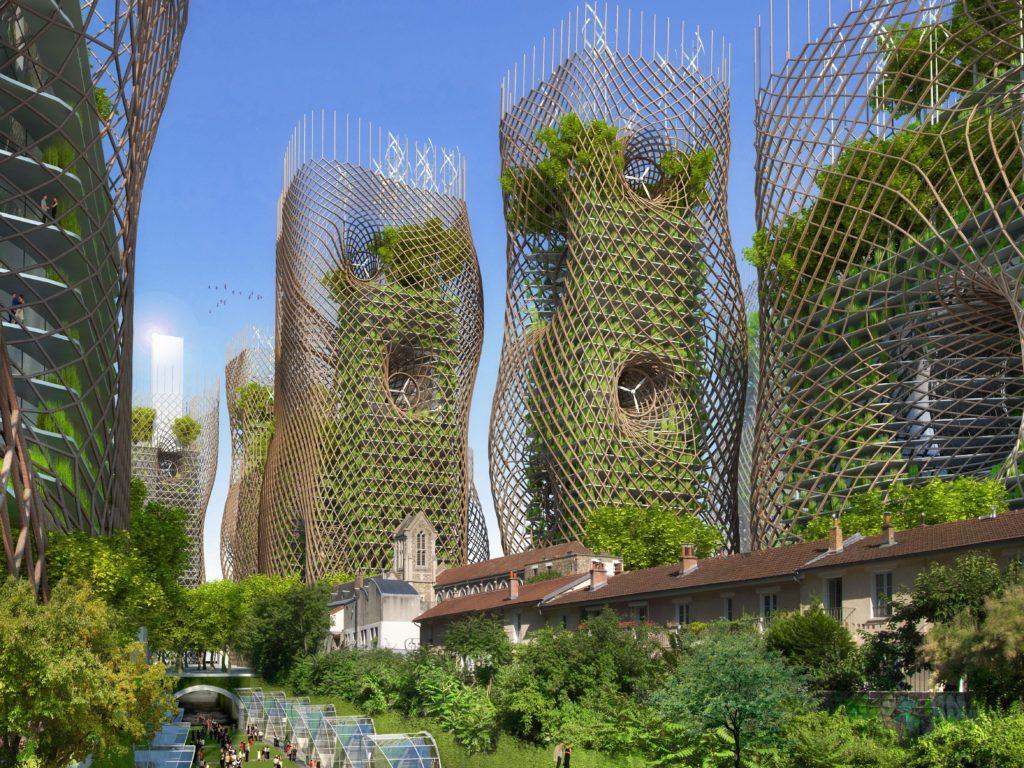 Thermodynamische Bamboo Nest Towers mit Obstgärten und begrünten Balkonen