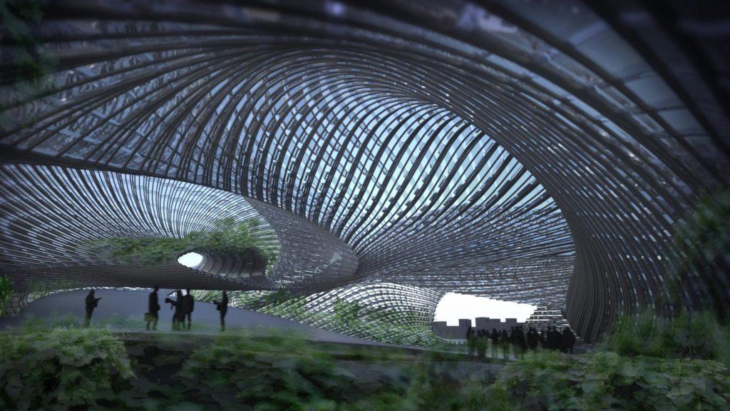 """Design-Ideen: """"Fiber Garden"""": Der Entwurf eines Urban Farming Forschungszentrums für New York, das natürliches Licht und Regenwasser optimal für seine Zwecke nützt (Bild: Nikolay Hristov Ivanov)"""