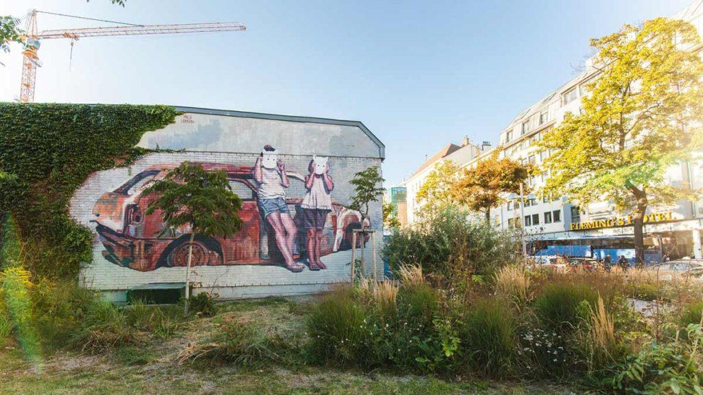 Mural von Milu Correch am Neubaugürtel