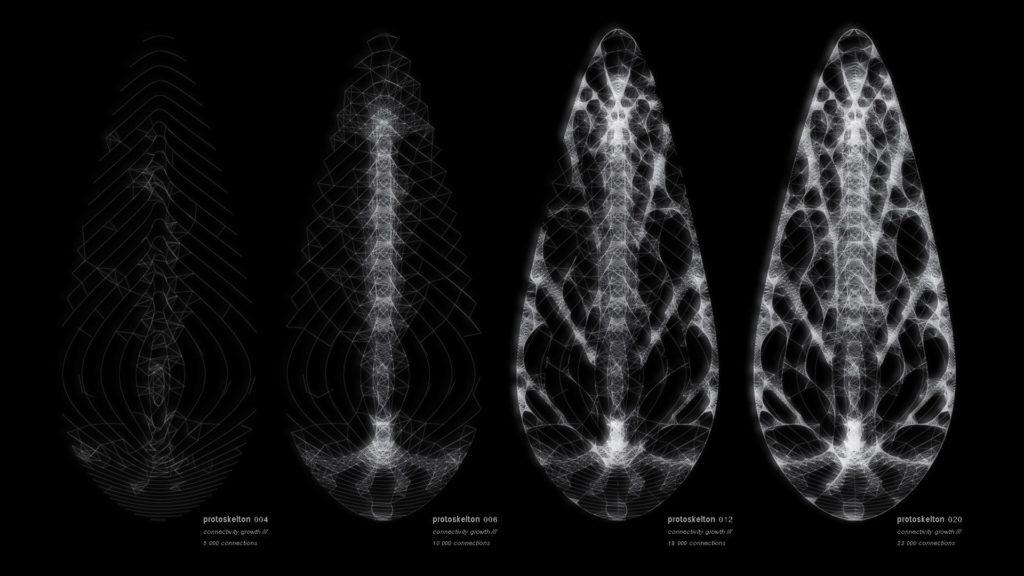 """Eine Natur-Vorlage wird im Computer zum Design-Bauplan: Entwicklungsphasen des Leucht-Objektes """"Phyllon"""", das den feinen Adern eines Pflanzenblattes nachempfunden ist (Bild: Nikolay Hristov Ivanov)"""