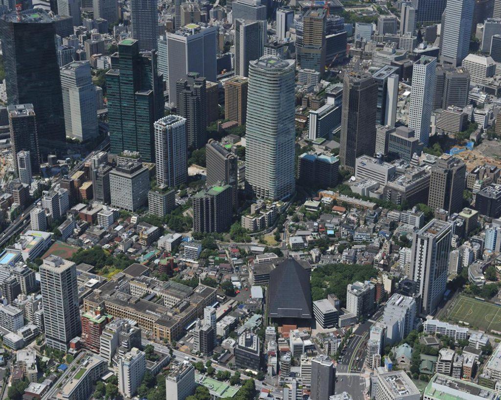 Blick von oben auf das Areal des Mega-Projekts: Tokios Bezirk Toranomon-Azabudai. (Bild: Mori)