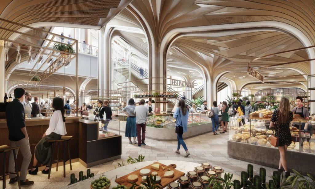 Eine Food-Hall im Verbindungsweg zwischen den Gebäuden des neu gestalteten Tokioer Bezirks wird zum Verweilen und Genießen laden. (Bild: Heatherwick Studio / DBOX for Mori)
