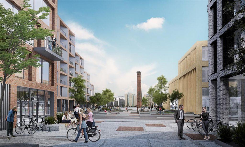 Das einst industriell genützte Areal lag lange brach. Mit dem Konzept der skandinavischen Architekten soll es zum neuen Hotspot Belfasts werden. (Bild: Henning Larsen)
