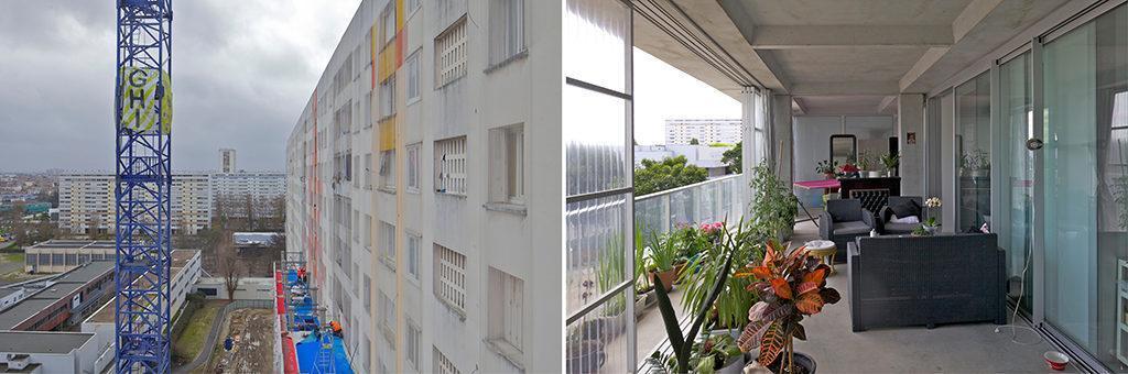 Lebenswert durch Umbau: Das Sieger-Projekt in Bordeaux hat den Bewohnern Licht, Luft und neue Nutzungsmöglichkeiten eröffnet. Wo Mauern waren (links), sind jetzt Balkone und Wintergärten. (Foto: Philippe Ruault)