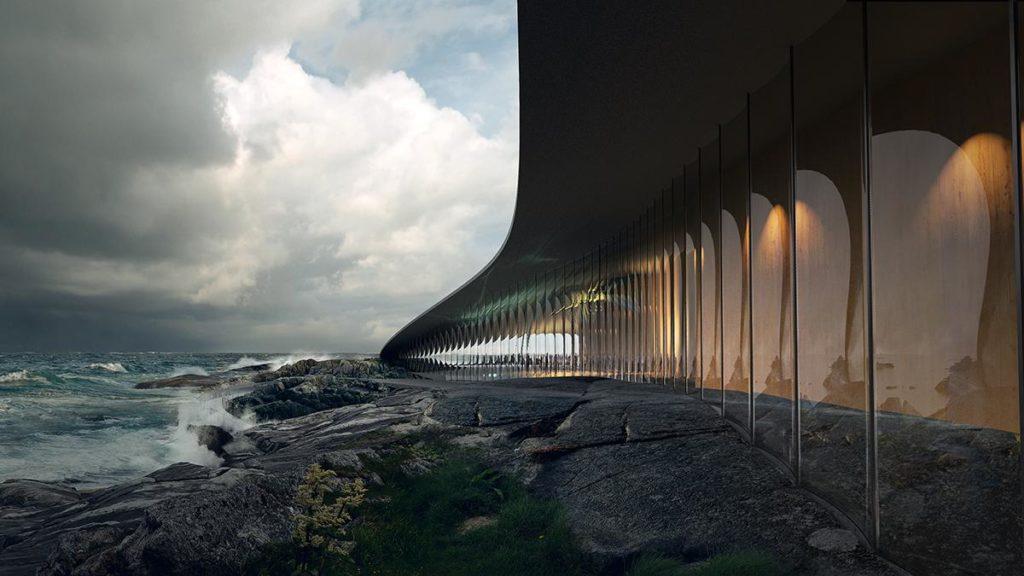 Riesige Fensterflächen direkt am Ufer: Das außergewöhnliche Bauwerk wird unvergessliche Naturerlebnisse ermöglichen. (Grafik: MIR)