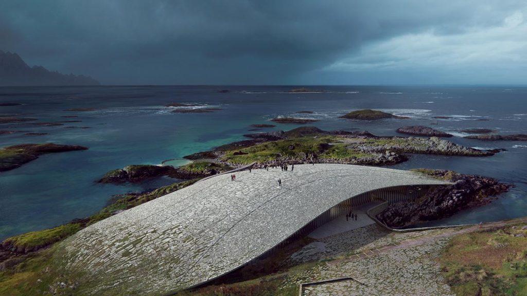 """Wie aus der Landschaft selbst gewachsen: Dorte Mandrups faszinierendes Projekt """"The Whale"""". (Grafik: MIR)"""