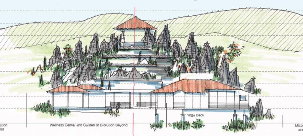 """Erste Skizzen: Auch ein Wellness-Center mit Yoga-Deck und """"Vulkangarten der Evolution"""" ist vorgesehen. (Grafik: Hitesh Mehta)"""