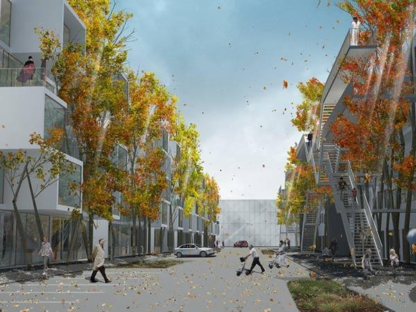 Entwurf einer baubotanischen Straße für Stuttgart