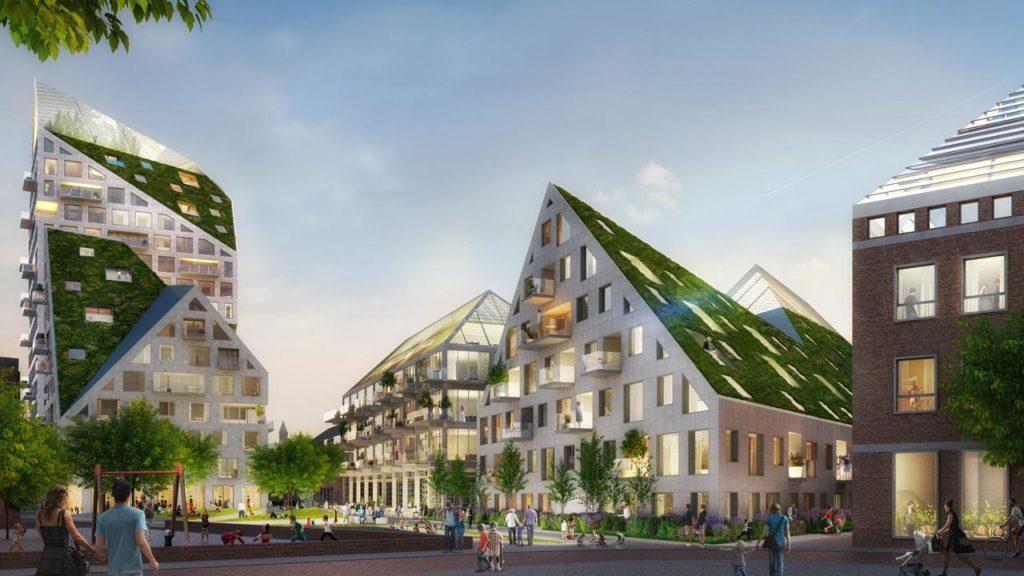 Wiesen auf schrägen Dachflächen, die viel Tageslicht einlassen: Das Rotterdamer Architekturbüro MVRDV hat für Nieuw Bergen ein außergewöhnliches Konzept entworfen. (Bild: MVRDV)
