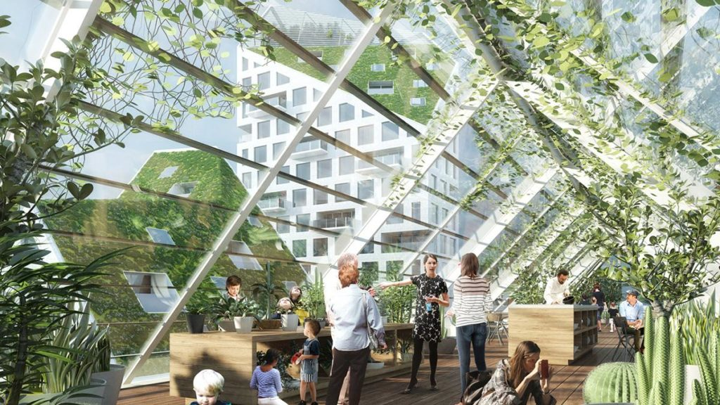 Glashäuser und Gemeinschaftsgärten spielen eine wichtige Rolle im Design der neuen Wohnsiedlung. (Bild: MVRDV)