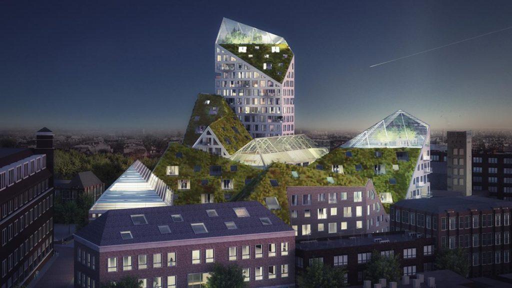 Ein Turm mit grünen Kanten wird Nieuw Bergens weithin sichtbarer Blickfang sein. (Bild: MVRDV)