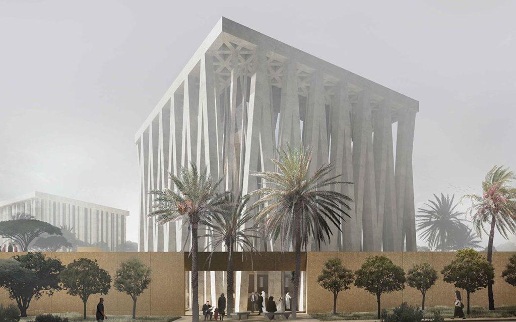 """Unterschiedliche Religionen, in einem faszinierenden architektonischen Projekt vereint: Adjayes """"Abrahamic Family House"""" in Abu Dhabi soll 2022 seine Pforten öffnen.  (Bild: Adjaye Associates)"""