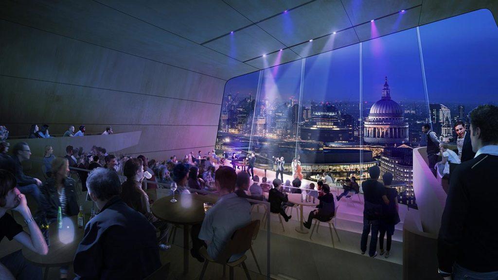 """""""The Coda"""": Der intimere Konzertsaal auf der obersten Ebene soll zeitgenössischer Musik eine Bühne bieten – bei grandiosem Blick über die Dächer von London. (Bild: Diller Scofidio and Renfro)"""