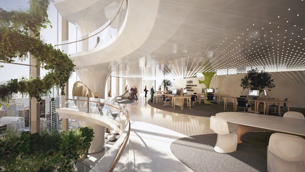 Viel Luft, Licht und zum Atrium hin offene, grüne Terrassen als Kontrapunkt zur Zweckmäßigkeit der Büros: Das Innere des neuen Detech-Komplexes soll höchste Lebensqualität bieten. (Bild: LAVA)
