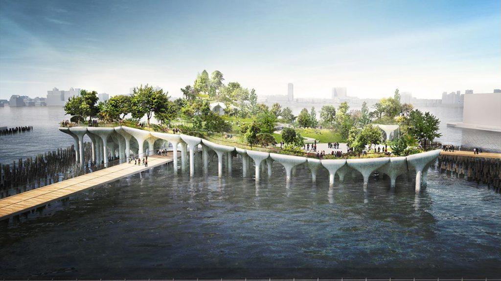 """Bequem raus aus der Mega-City: """"Little Island"""" wird von Manhattan aus über Gehwege erreichbar sein. (Bild: Heatherwick)"""