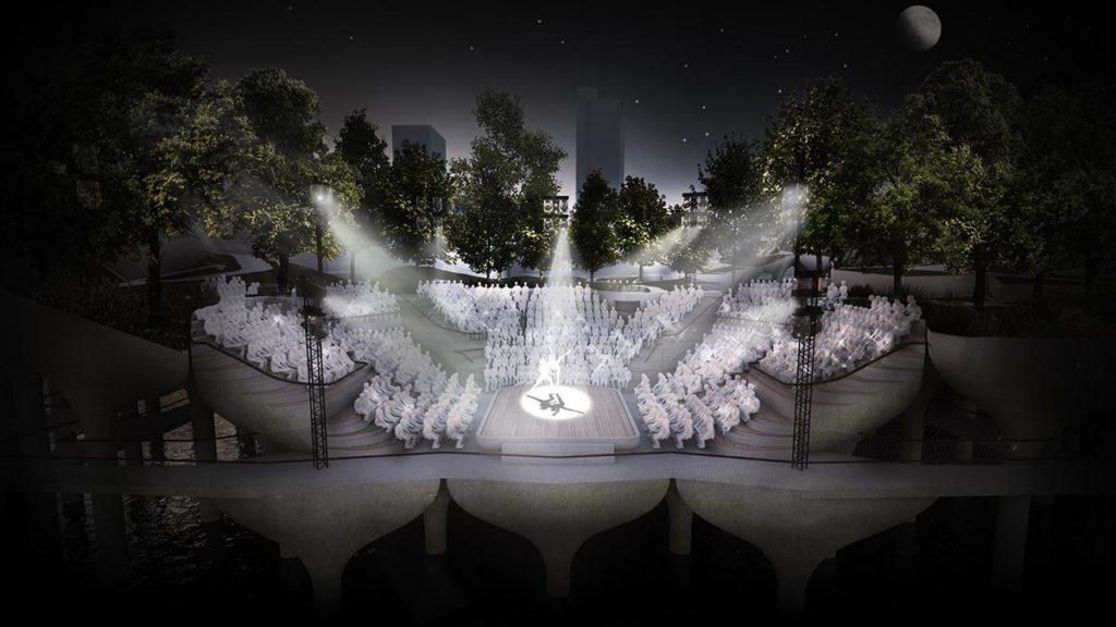 Im Amphitheater soll ganzjährig Kultur geboten werden. (Bild: Heatherwick)