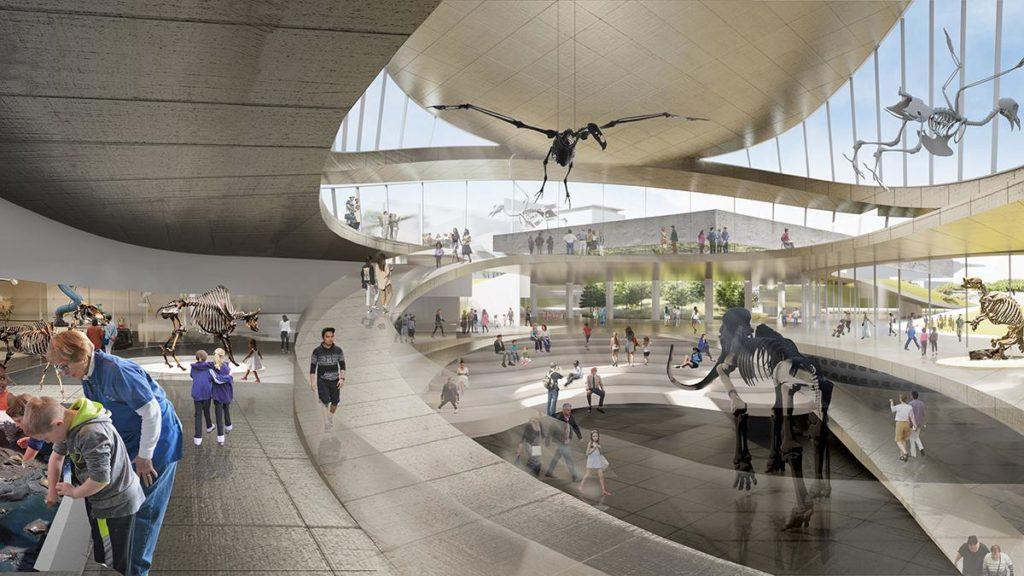 Konzept-Grafik zum Neudesign von Ausstellungsflächen und Laboren der La Brea Tar Pits. (Grafik: Weiss/Manfredi)