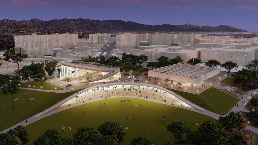Weitblick und Einblick: Weiss/Manfredi Architects' konzeptionelle Grafiken zeigen, wie die Sammlung der La Brea Tar Pits bestmöglich zur Geltung gebracht werden soll. (Grafik: Weiss/Manfredi)