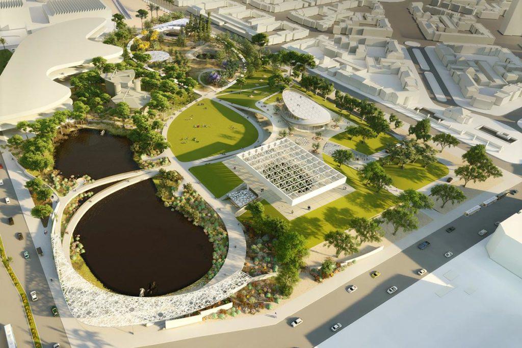"""""""Loops and Lenses"""" nennt das Architekturbüro Weiss/Manfredi sein elegantes Konzept für die nachhaltige Neugestaltung der """"La Brea Tar Pits"""". (Bild: Weiss/Manfredi)"""