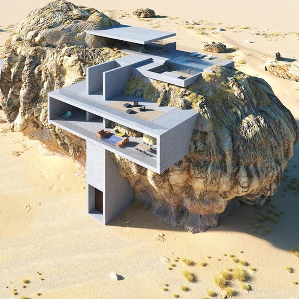 House Inside a Rock from above