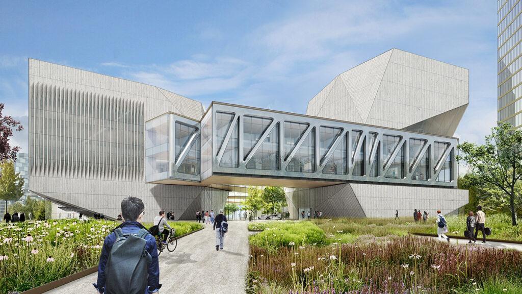 Juilliard School Tianjin: Die Pavillons sind durch Brücken verbunden, deren begrünte Dächer Erholung und Ausblick auf den Fluss bieten. (Bild: Diller, Scofidio + Renfro)