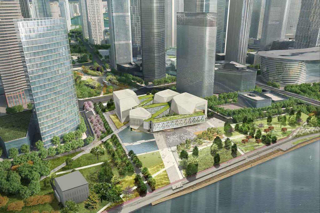 Architektonisches Juwel, umringt von Wolkenkratzern: Die neue Juilliard School im chinesischen Tianjin. (Bild: Diller, Scofidio + Renfro)