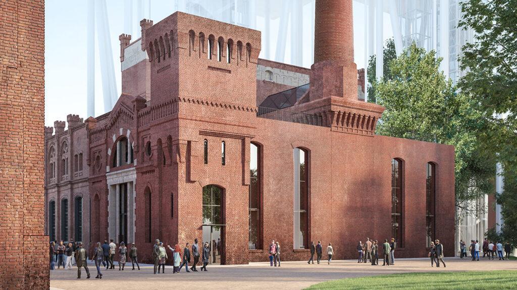 Ein Hochhaus legt sich quer: Behutsam renoviert: Die alten Ziegelbauten der Badaevskiy Brauerei. (Bild: Herzog & de Meuron)