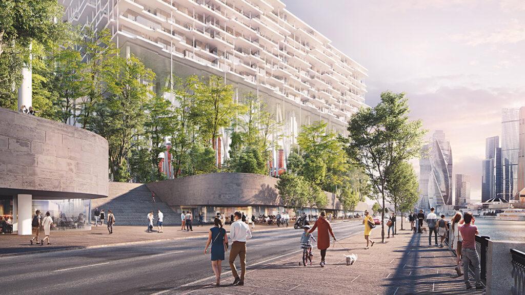 Das Hochhaus, das sich quer legt, thront über der Uferpromenade. (Bild: Herzog & de Meuron)