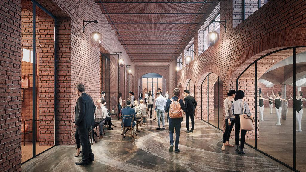 Ein Hochhaus legt sich quer: Design der neuen Einkaufsmeile in der alten Badaevskiy Brauerei (Bild: Herzog & de Meuron)