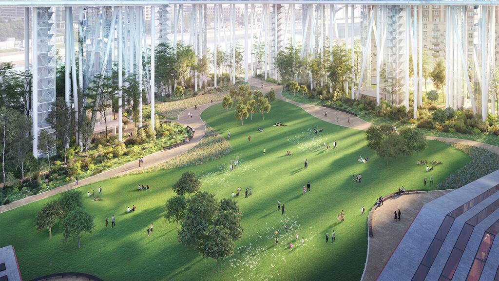 Wiesen, Büsche, Bäume und Stelzen: Der Park der Anlage. (Bild: Herzog & de Meuron)
