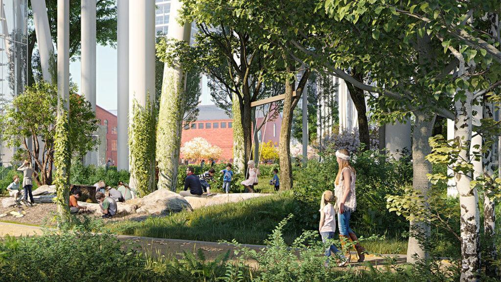 Ein Hochhaus legt sich quer: Spielplatz zwischen Bäumen und Hochhaus-Stelzen im neuen Badaevskiy Gelände. (Bild: Herzog & de Meuron)