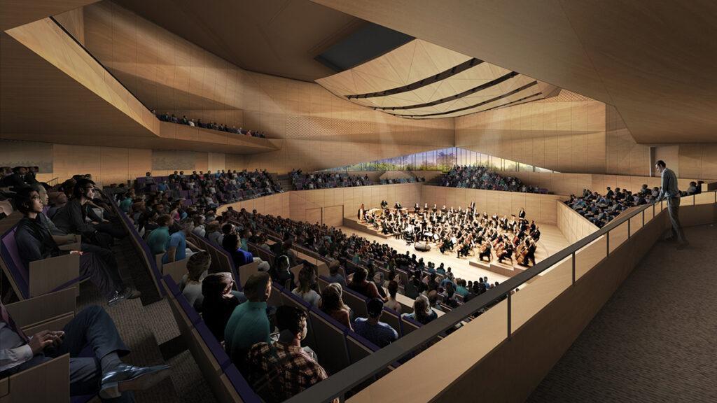 Die große Konzerthalle der neuen Tianjin Juilliard School. (Bild: Diller, Scofidio + Renfro)