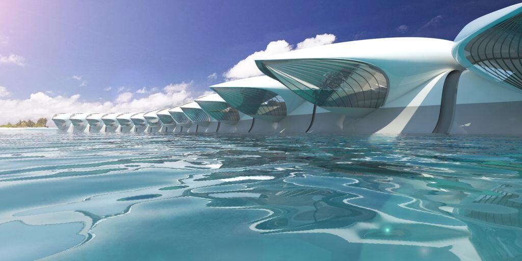 Wohnen auf See: HYPERcay soll frei über die Meere reisen, aber auch in nahezu jedem Hafen anlegen können. (Bild: Santosuosso)