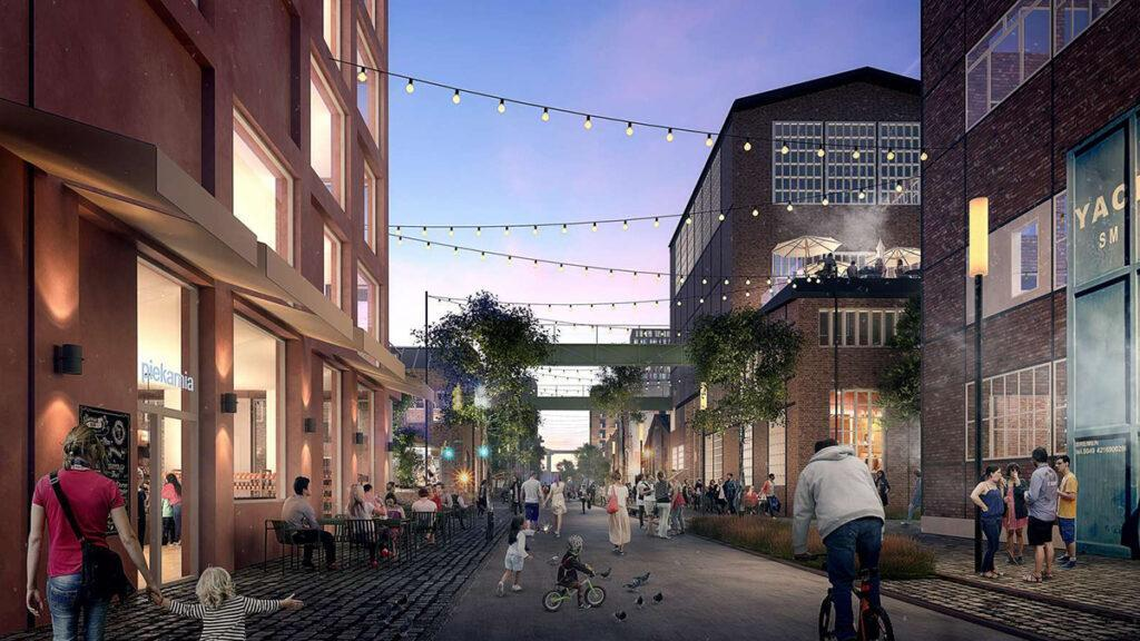 In den neuen Straßen der alten Kaiserlichen Werft soll rund um die Uhr buntes Leben herrschen. (Bild: Henning Larsen)