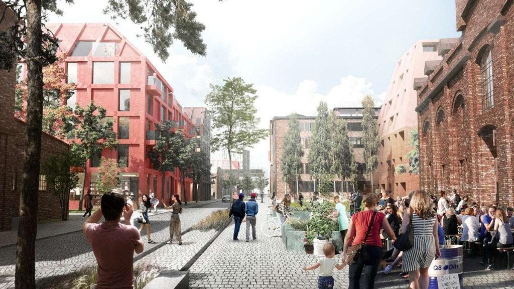 Die Plaza soll einer der Kernpunkte des neuen Stadtteils werden, der die Kaiserliche Werft zu neuem Leben erweckt. (Bild: Henning Larsen)