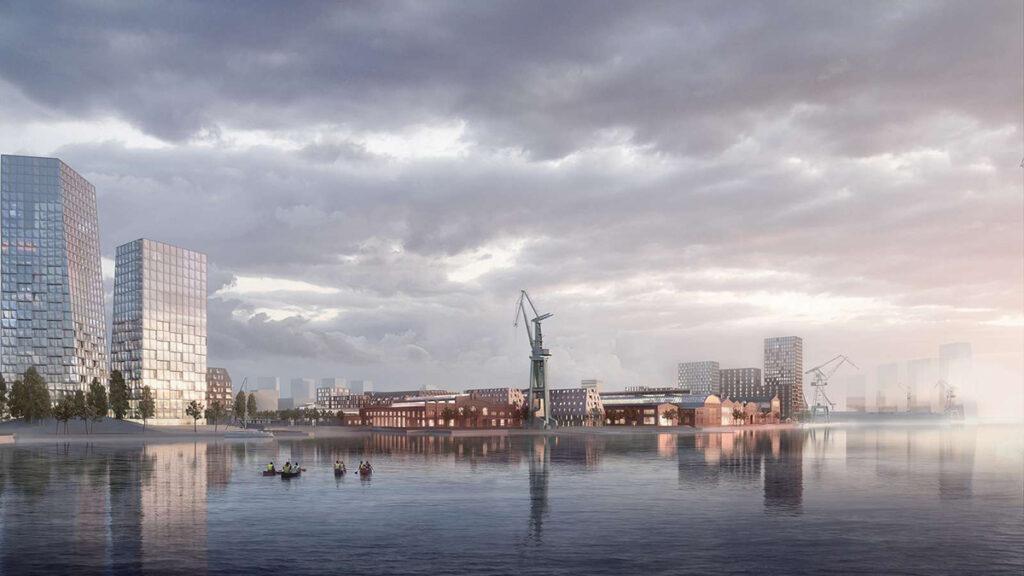 Wohnen, arbeiten und erholen am Wasser: Das Areal der Kaiserlichen Werft soll alles bieten – nachhaltig und bei bester Lebensqualität. (Bild: Henning Larsen)