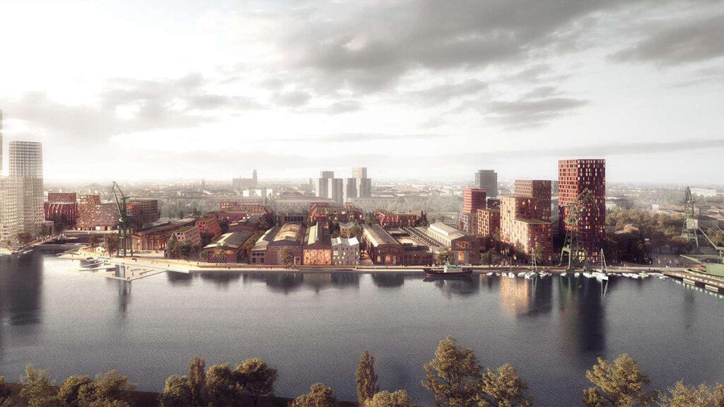 Einladender Mix aus Geschichte und Zukunft: So soll Danzigs Kaiserliche Werft nach der Revitalisierung aussehen. (Bild: Henning Larsen)