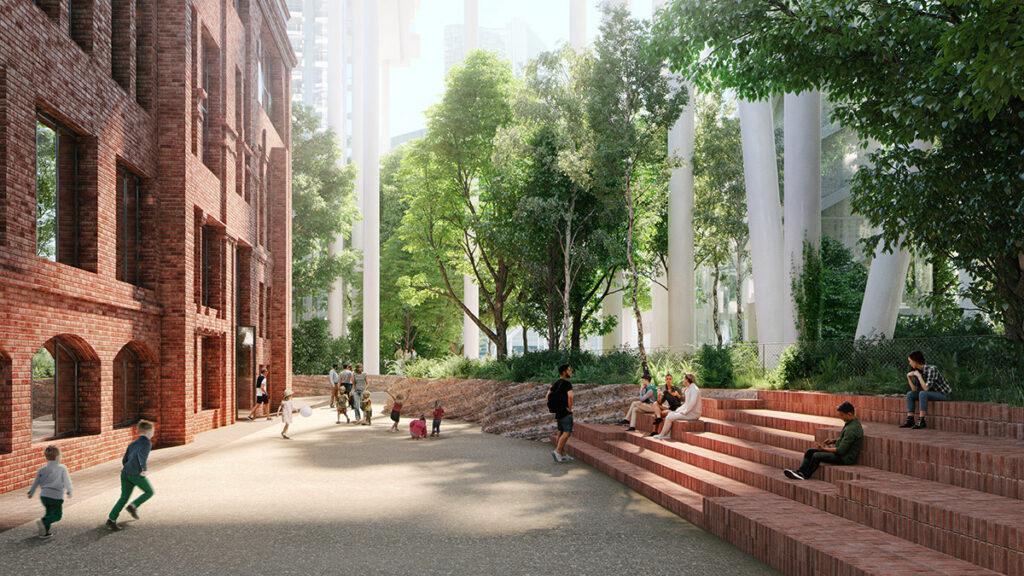 Ein Hochhaus legt sich quer: Neu belebte historische Bauten unter den Stelzen des Hochhauses: Öffentliche Plätze, Ziegelbauten und ein urbaner Wald. (Bild: Herzog & de Meuron)