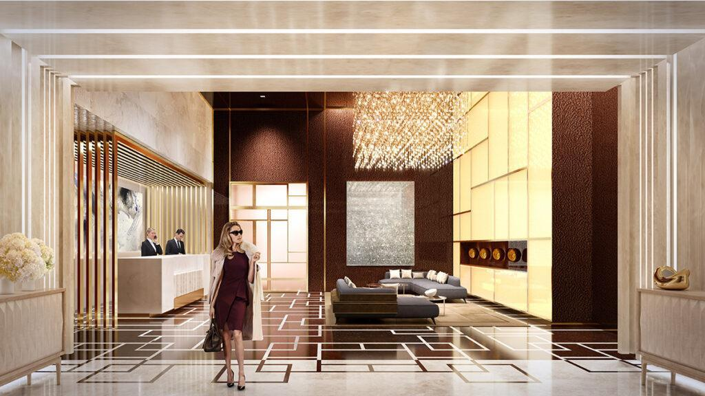 """Lobby of the exclusive """"Central Park Club"""""""