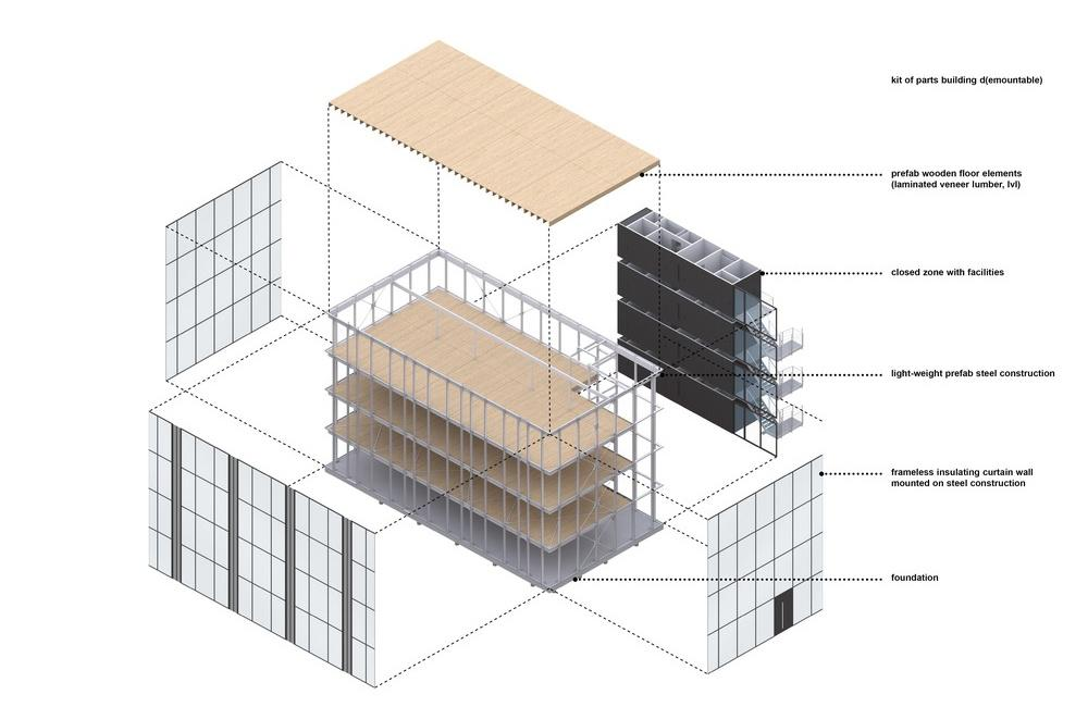 Plan von Building D(emountable) ein rückbaubares Büro