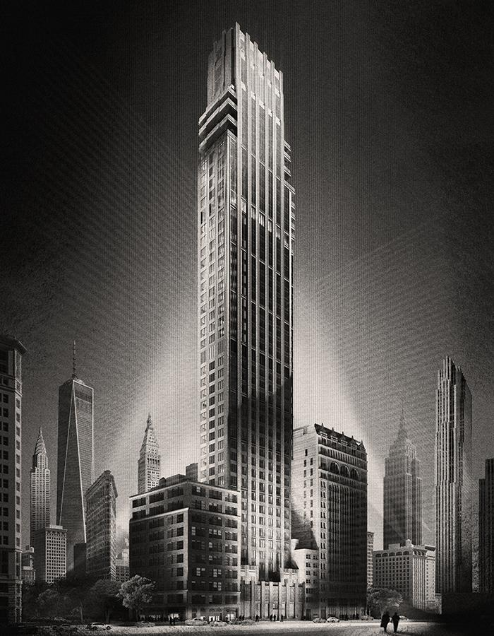 Artwork of the Rose Hill tower, like Gotham City