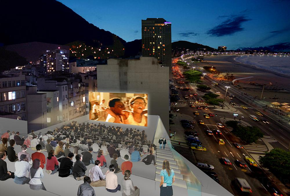 Open-air cinema on the roof of the Museum of Image and Sound
