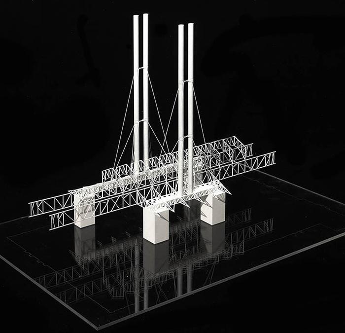 """""""Kultur-Kraftwerk"""" á la Renzo Piano: Modell von Dach, Stahlnetz und Schornsteinen (Bild: RPBW)"""
