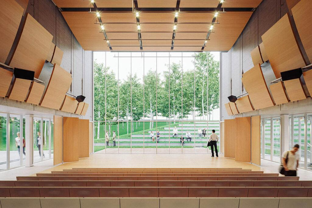 """Kultur-Kraftwerk"" á la Renzo Piano: Theaterbühne mit Blick in den eigens gepflanzten Birkenwald. (Bild: RPBW)"