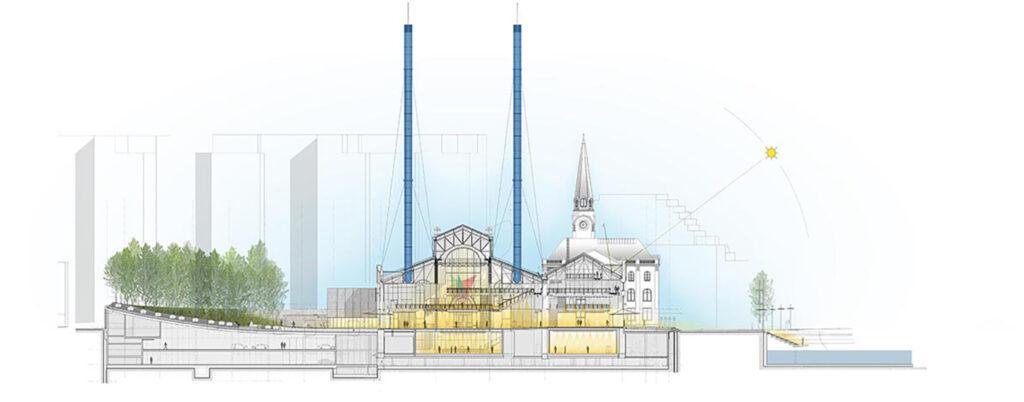 """""""Kultur-Kraftwerk"""" á la Renzo Piano in Moskau. (Grafik: RPBW)"""