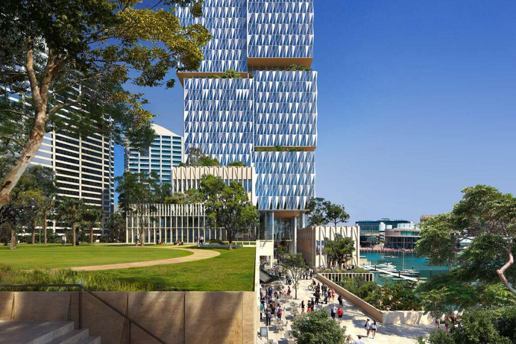 Henning Larsens Projekt für den Cockle Bay Park soll zum neuen urbanen Hotspot Sydneys werden. (Bild: Henning Larsen)