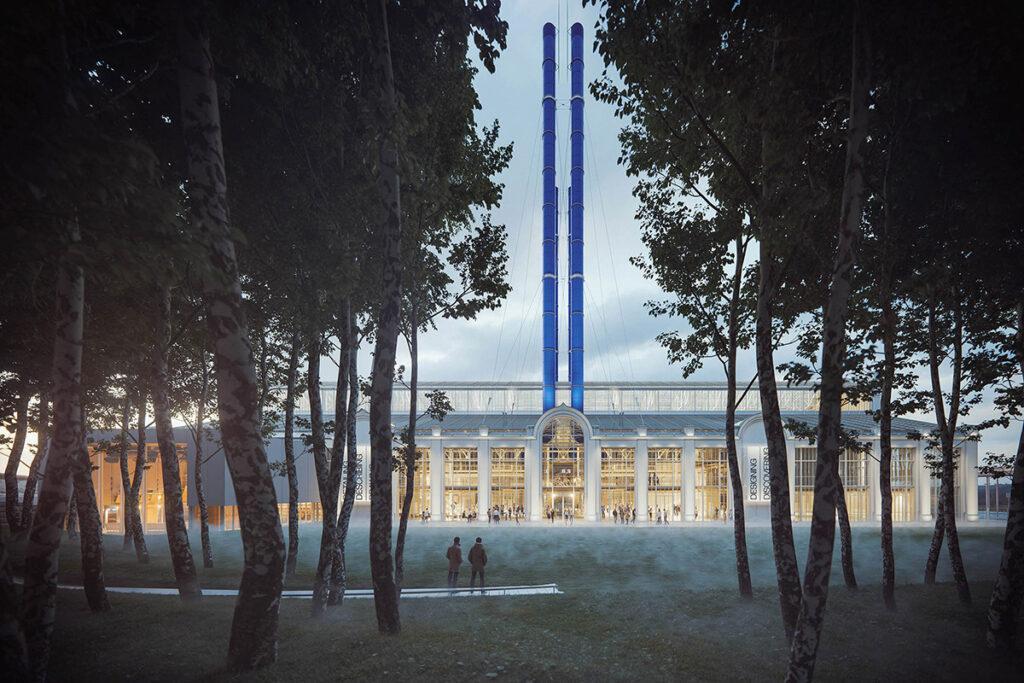 """""""Kultur-Kraftwerk"""" á la Renzo Piano – von seinem eigenen """"Wald"""" aus betrachtet. (Bild: RPBW)"""