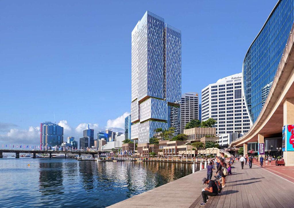 Der tolle Turm von Cockle Bay. Bis zum Jahr 2026 soll der Turm mit dem gesellschaftlichen Zusatznutzen fertiggestellt werden. (Bild: Henning Larsen)