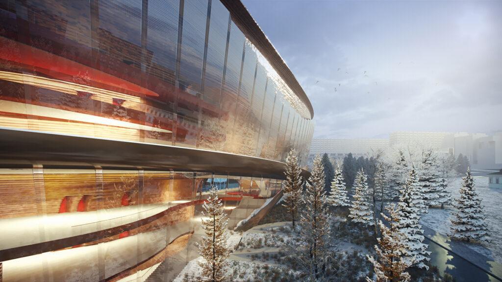 wHY Architecture lädt zum Tanz. Auch durch die äußere Form des neuen Theaters. (Bild: wHY / AtChain)